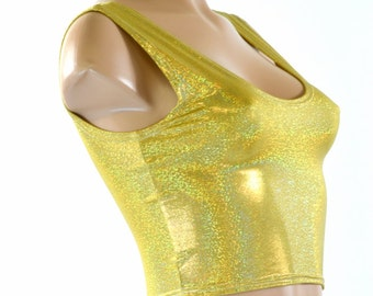 Gold Holographic Sparkly Jewel Tank Crop Top 151544