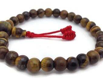 Tiger Eye Beads Stretch Wrist Mala Bracelet for Meditation and Yoga