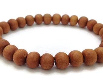 Tibetan Natural Sandalwood Beads Stretch Wrist Mala Bracelet