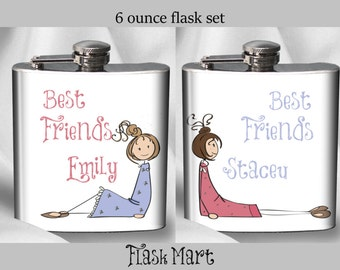 SALE! Best Friends Flask Set - Personalized Flask Set - Birthday Gift