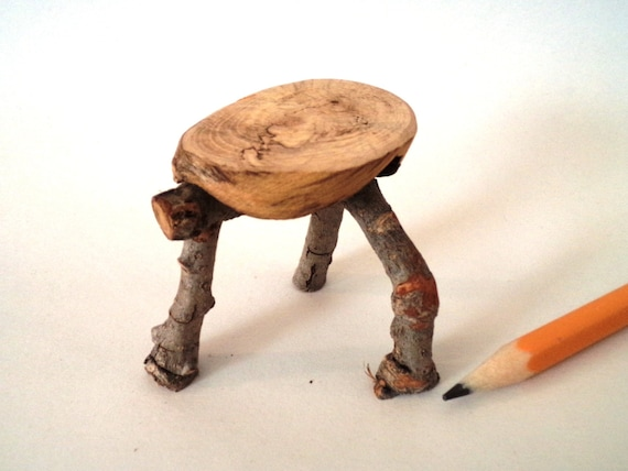 Rustic Miniature Furniture 3 Legged Stool Unique Folk Art