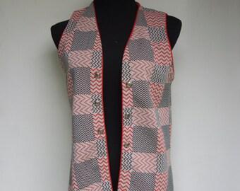 60's 70's Long Vest - BRADLEY Women's Union Made Polyester 1960's 1970's Black White Red Zig Zag Checkered Striped Plaid