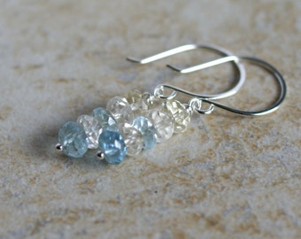 Aquamarine drop earrings, aquamarine jewelry, sterling silver French hook ear wires, March birthstone gift for her