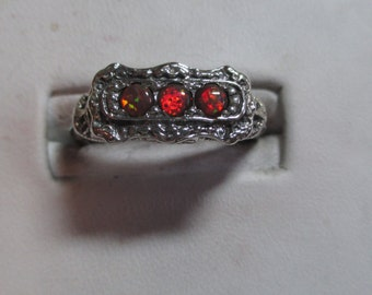 Ladies fire opal antique style sterling silver ring