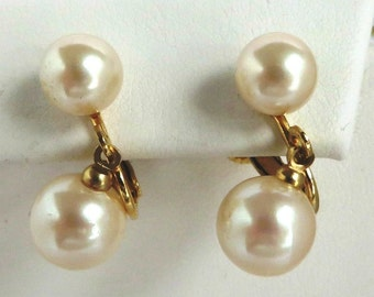 Marvella Pearl Earrings, Vintage Gold Tone Dangling Faux Pearl Clips, Bridal Jewelry