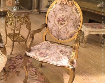 1/12 victorian armchair hand painted and decorated by Bea dollshouse miniatures.