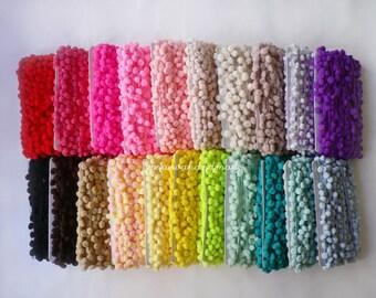 5 yards pom pom trim ribbon,white pom,yellow pom,orange pom,red pom,pink pom,purple pom,blue pom,green pom,black pom.