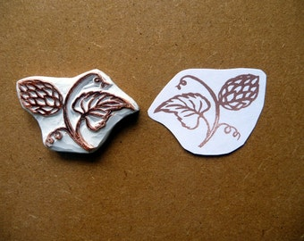 Hops Rubber Stamp, Hand Carved, Hand Made Floral Design, Card Making, Printing and Papercrafts