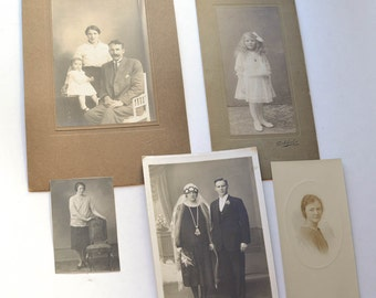 Antique Cabinet Cards and Photos Lot of 5 Little Girl, Wedding