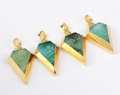 2016 On Sale Gold Plated Triangle Diamond Faceted Natural Australia Jade Pendant Bead Natural Chrysoprase Gemstone Fashion Green Jade Jewelr
