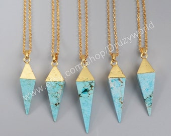 Wholesale Gold Plated Pyramid Point Howlite Turquoise Faceted Necklace Turquoise Point Gemstone Jewelry Making Jewelry G1005-N