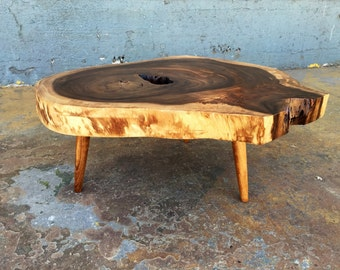 SOLD - Beautiful Live Edge, Acacia Wood Slab Coffee Table