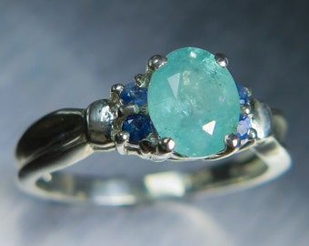 1.20cts Natural Paraiba blue Tourmaline & blue sapphires 925 sterling silver (availible in 9ct 14k 18k gold) engagement ring all sizes