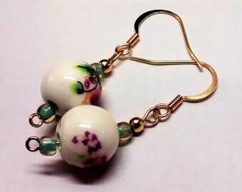Pink floral beaded earrings