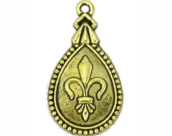 8 pcs - Teardrop Gold Fleur De Lis Charm Pendant 30x17mm - Ships from Texas by TIJC - SP0690