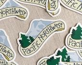 Pacific Northwest Vinyl Sticker // Handlettered Design