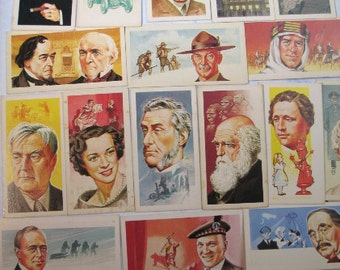 FAMOUS PEOPLE Portraits Faces 12 asst Collector Cards - 1969 Brooke Bond Tea Vintage Advertising Trade Card  PL51