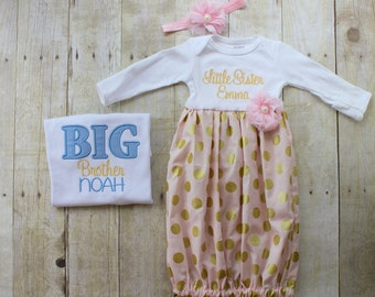 Big Brother Little Sister Set - Pink & Gold Polka Dot - Blue - T Shirt - Newborn Gown -  Going Home Outfit - Baby Shower Gift