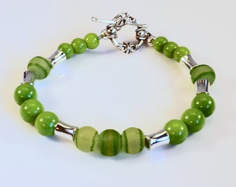 Women's Lime Green with Silver Beaded Bracelet