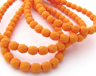 Matte Saturated Pumpkin 4mm Facet Round Czech Glass Fire Polished Beads 50pc #3058