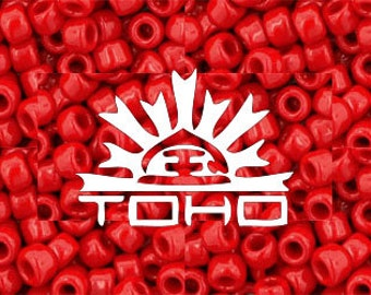 Opaque Cherry Red Toho Color #45A Japanese Glass Size 6 Seed Beads  6/0 18-20grams #z253