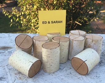 10 Birch Log Wood table number place card food tent food label stands holders placecard place card Wedding party shower wooden