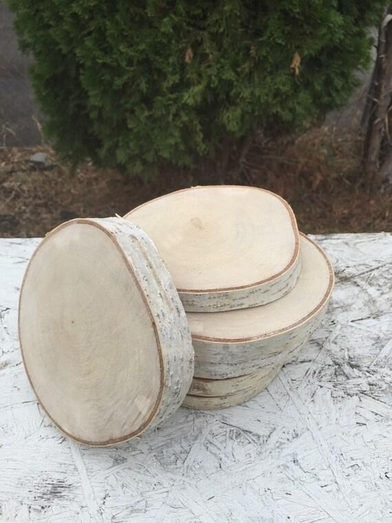 10 birch wood coasters 6 7in disks center piece diy for Diy rustic coasters