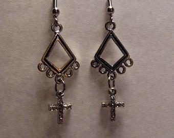 Small Crystal Cross Chandelier Earrings