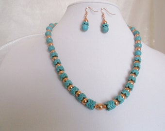 Copper and Turquoise Dyed Howlite 21 3/4 inch Necklace and Earrings Set
