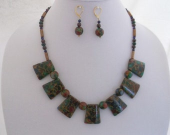 Mosaic Agate-Garnet-Lapis Lazuli-Gold Reconstructed Coral-Green Glass 20 inch Necklace and Earrings Set.  One of a Kind