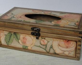 Wooden Tissue Box Cover. Tissue holder. Napkin box. Rose. Decoupage.