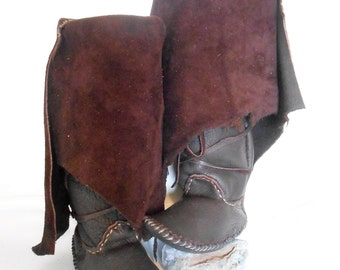 Moccasin Boots, Handmade Hand Sewn Tall Moccs, Natural Buffalo Sole Moccs, Mountain Man, Rendezvous, Custom Made to Order, Hippie, Boho
