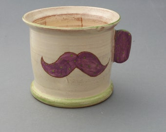 Moustache Mug handmade ceramic enameled white green purple vintage hipster Old School Tattoo personalized christmas gift dad gift
