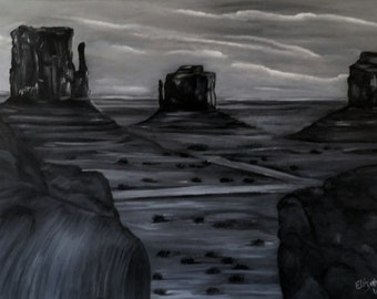 View of Monument Valley an Original Oil on canvas 24x18x1 in Black and White