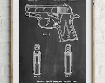 Sig Sauer P220 Pistol Patent Poster, Gun Enthusiast, Gun Art, Handgun, Police Gift, PP1034