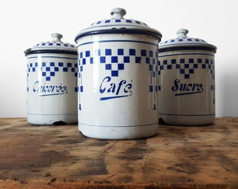 French KITCHEN CANISTER set, LUSTUCRU blue and white chequered pattern /French decor /French kitchen/Easter