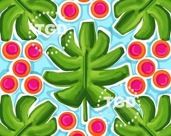 Palm Leaf Print Polka dot Digital paper, watercolor digital paper, tropical digital paper, preppy paper, preppy prints, preppy digital paper