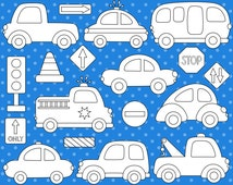 Cars Digital Stamps, Transportation Digital ClipArt, Road Signs, Vehicle, Fire Truck, Police, School Bus - Instant Download - YDS007