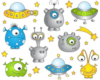 Outer Space Monsters Clip Art, Cute Alien Clip Art, Cute UFO Clip Art, Digital Clip Art, Space Clip Art, Instant Download - YDC016