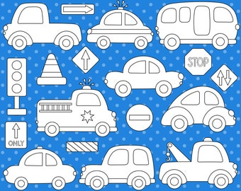 Cute Cars Digital Stamps, Transportation Digital ClipArt, Road Signs, Vehicle, Fire Truck, Police Car, School Bus - Instant Download Clipart