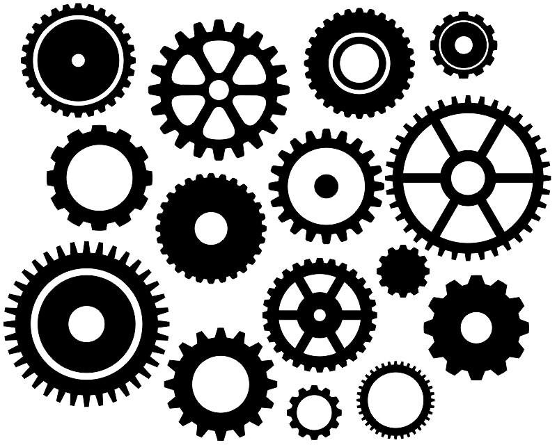 Steampunk Gears Clip Art Black Gears Silhouette Clip Art