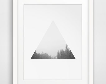 Tree Print, Triangle, Forest Art, Photography, Black and White, Forest Print, Geometric, Triangle Print, Forest Art, Geometric Forest