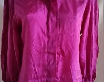 Vintage pure silk blouse pink purple magenta size 10