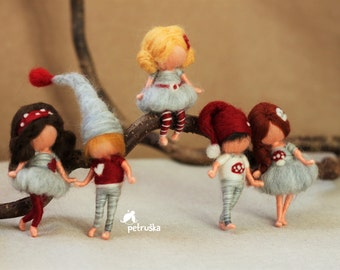 needle felted doll brooches, waldorf inspired, grey and red collection, also christmas decoration