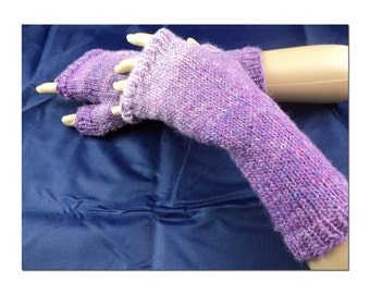 Long Purple Handknit Fingerless Gloves. Gauntlet. Wristlet. Wrist-Warmers. Arm Warmers. Cosplay. One size fits most.