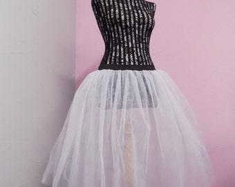 """26"""" Longer Length Tutu Skirt Rock n Roll White Bridal Underskirt Fancy Dress All Colours"""