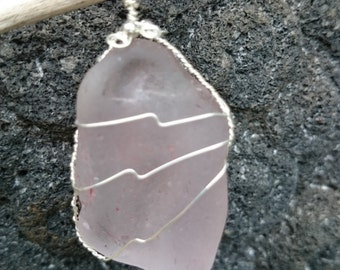 Pink softly frosted seaglass pendant wrapped in sterling silver wire with sterling silver bead accent