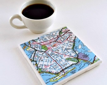 Custom Map Coaster / Wedding Map Favors / Gifts for Employees /  Gifts for Coworkers / Best Friend Gift / Teacher Appreciation Gift