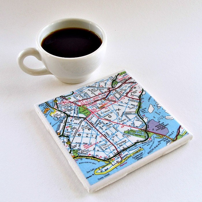 Wedding Gift Ideas For Coworker: Personalized Map Coaster / Gift For Coworker / Teacher