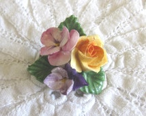 Vintage Handmade China Flower Brooch, Hand Painted